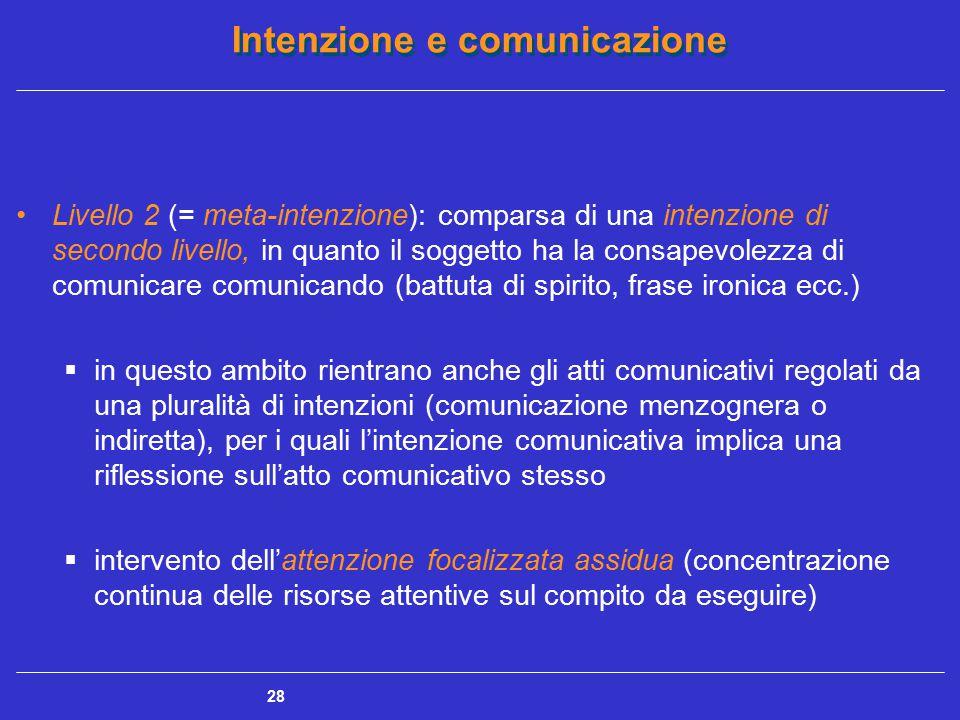 Intenzione e comunicazione 28 Livello 2 (= meta-intenzione): comparsa di una intenzione di secondo livello, in quanto il soggetto ha la consapevolezza