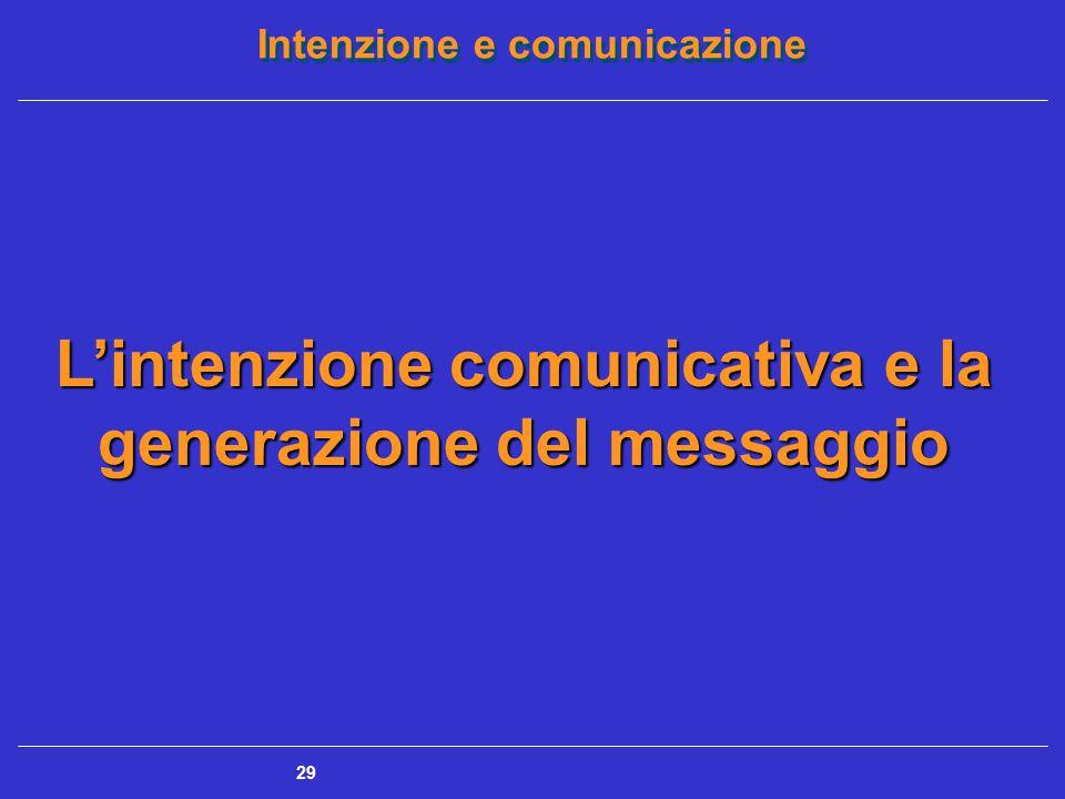 Intenzione e comunicazione 30 L'intenzione comunicativa e la generazione del messaggio Generazione del messaggio: organizzazione e collocazione di un atto comunicativo nel corso dell'interazione fra due o più partecipanti
