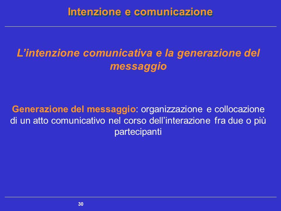 Intenzione e comunicazione 30 L'intenzione comunicativa e la generazione del messaggio Generazione del messaggio: organizzazione e collocazione di un