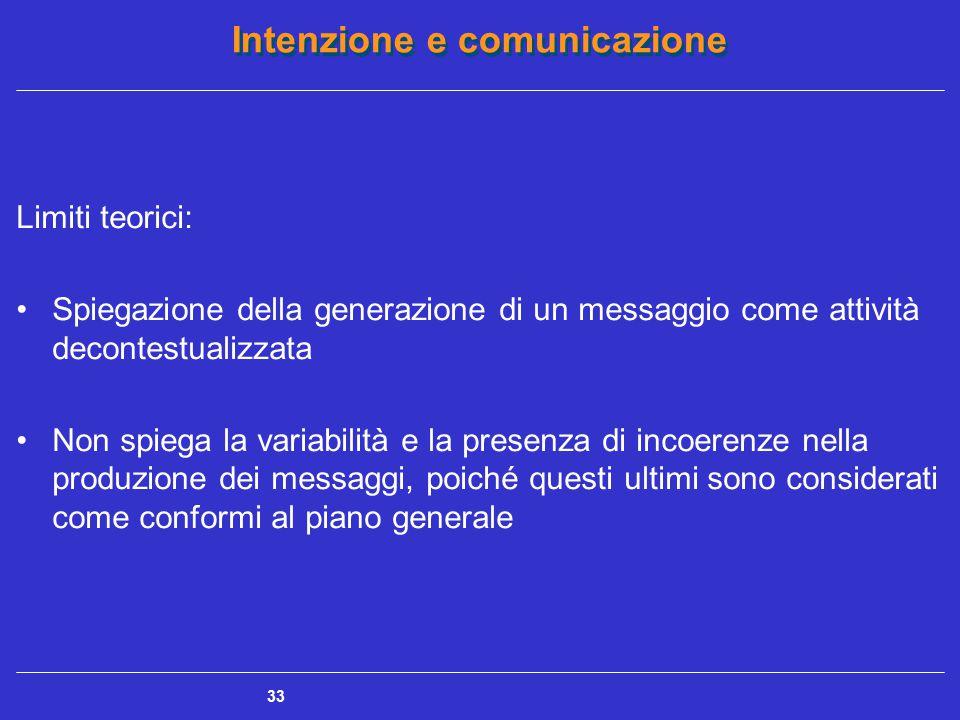 Intenzione e comunicazione 33 Limiti teorici: Spiegazione della generazione di un messaggio come attività decontestualizzata Non spiega la variabilità