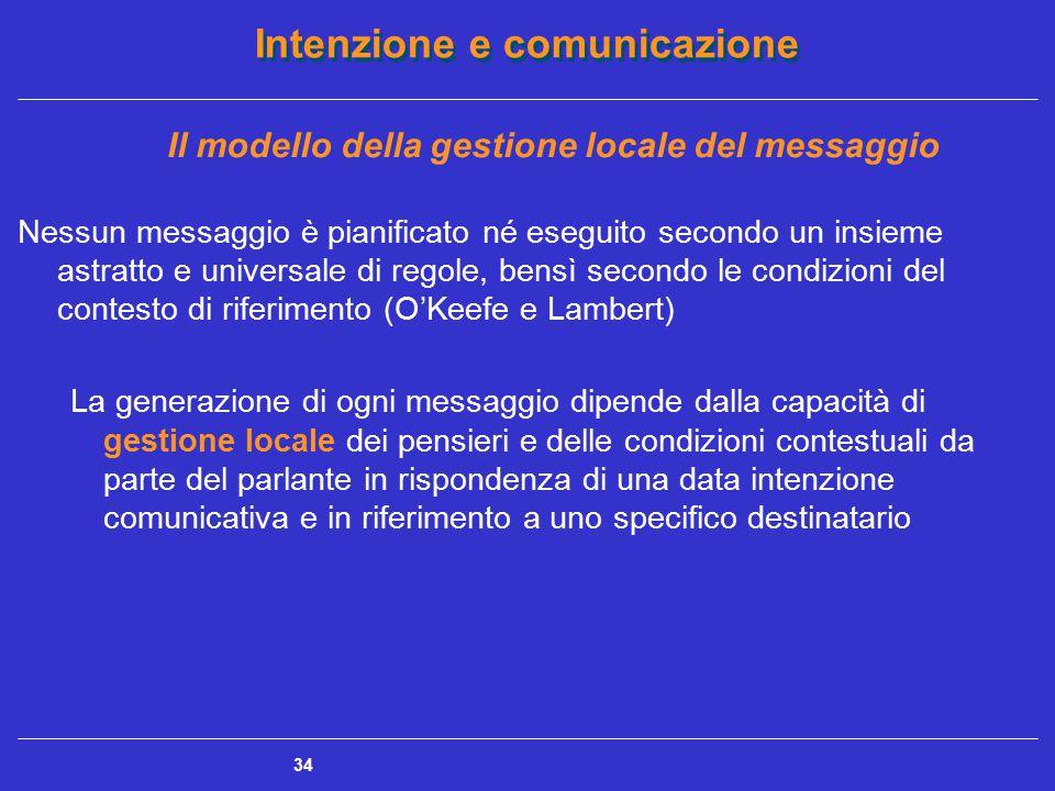 Intenzione e comunicazione 34 Il modello della gestione locale del messaggio Nessun messaggio è pianificato né eseguito secondo un insieme astratto e