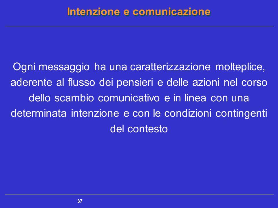 Intenzione e comunicazione 37 Ogni messaggio ha una caratterizzazione molteplice, aderente al flusso dei pensieri e delle azioni nel corso dello scamb