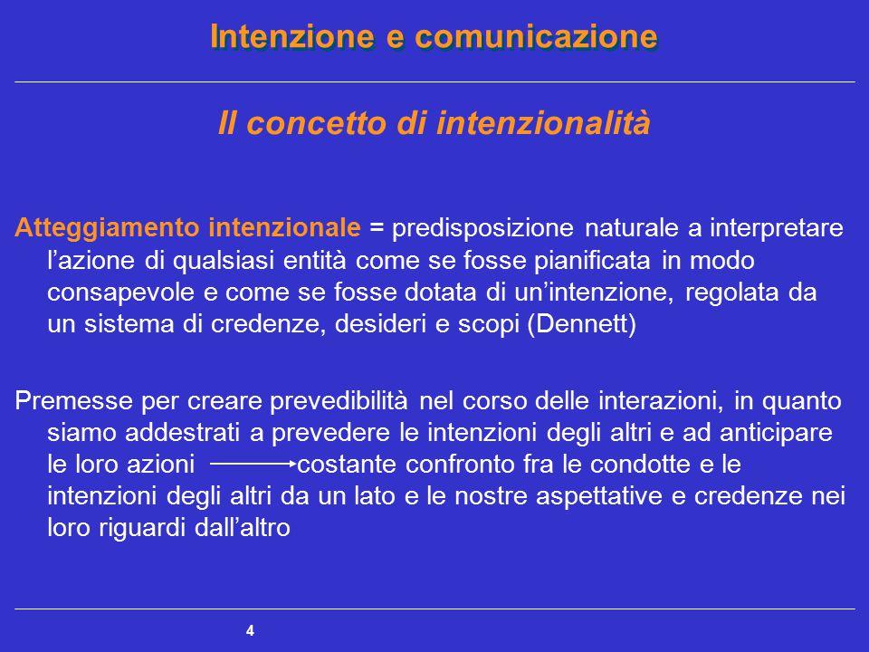 Intenzione e comunicazione 4 Il concetto di intenzionalità Atteggiamento intenzionale = predisposizione naturale a interpretare l'azione di qualsiasi