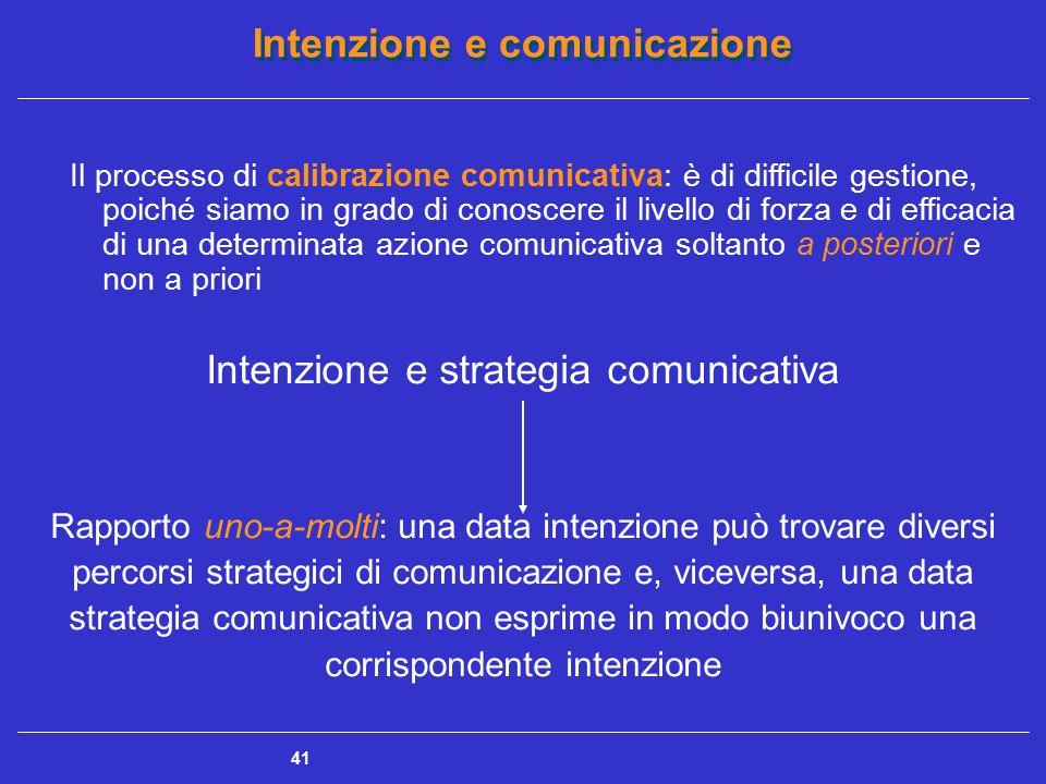 Intenzione e comunicazione 41 Il processo di calibrazione comunicativa: è di difficile gestione, poiché siamo in grado di conoscere il livello di forz