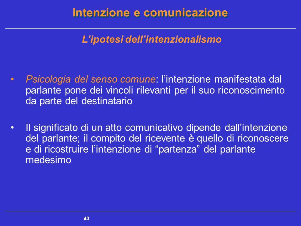 Intenzione e comunicazione 44 Il problema della trasparenza intenzionale Meaning intention (o m-intention): P sa che A sa che P sa che A sa (e così senza fine) che P ha una determinata intenzione comunicativa; condivisione consapevole dell'intenzione comunicativa del parlante (Grice) Reciproca consapevolezza fra il parlante e l'interlocutore Rischio della trasparenza intenzionale (la comunicazione è il risultato di un'intenzione complessa che è soddisfatta nel medesimo momento in cui è riconosciuta dal destinatario)