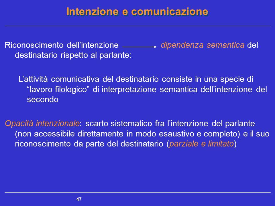 Intenzione e comunicazione 47 Riconoscimento dell'intenzione dipendenza semantica del destinatario rispetto al parlante: L'attività comunicativa del d