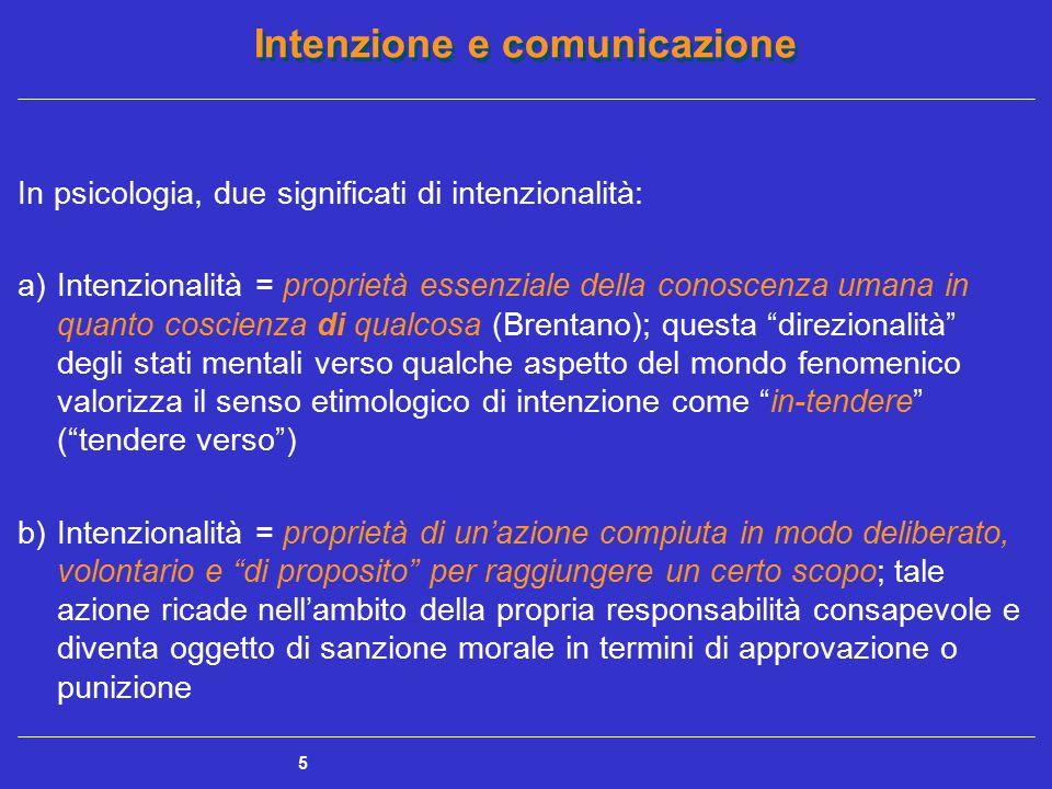 Intenzione e comunicazione 6 In entrambi i significati l'intenzionalità è una proprietà di certi (non tutti) stati mentali Intenzione (condotta diretta al raggiungimento di uno scopo) Intenzione antecedente volontà e proposito di fare delle cose ; progettazione e pianificazione di un'azione per il conseguimento di uno scopo Intenzione-in-azione Capacità di intervenire in modo intenzionale in una circostanza imprevista o, comunque, non pianificata