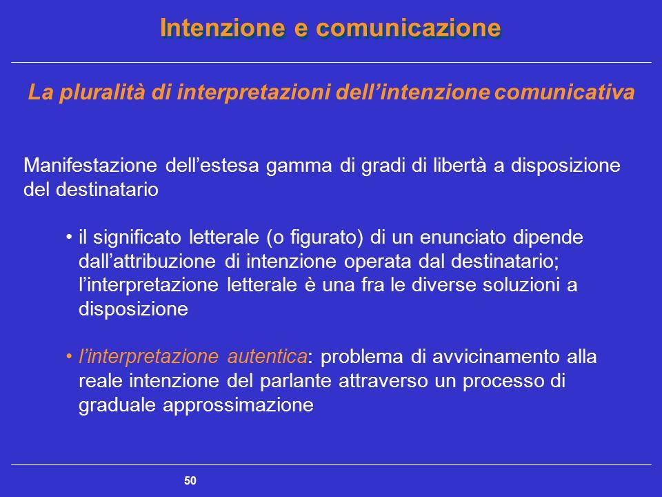 Intenzione e comunicazione 50 La pluralità di interpretazioni dell'intenzione comunicativa Manifestazione dell'estesa gamma di gradi di libertà a disp