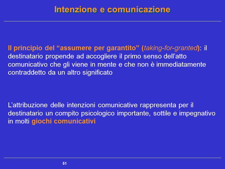 """Intenzione e comunicazione 51 Il principio del """"assumere per garantito"""" (taking-for-granted): il destinatario propende ad accogliere il primo senso de"""