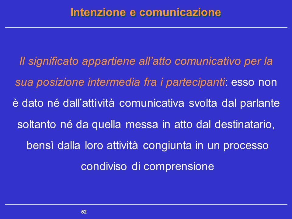 Intenzione e comunicazione 52 Il significato appartiene all'atto comunicativo per la sua posizione intermedia fra i partecipanti: esso non è dato né d