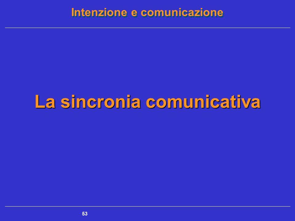 Intenzione e comunicazione 53 La sincronia comunicativa