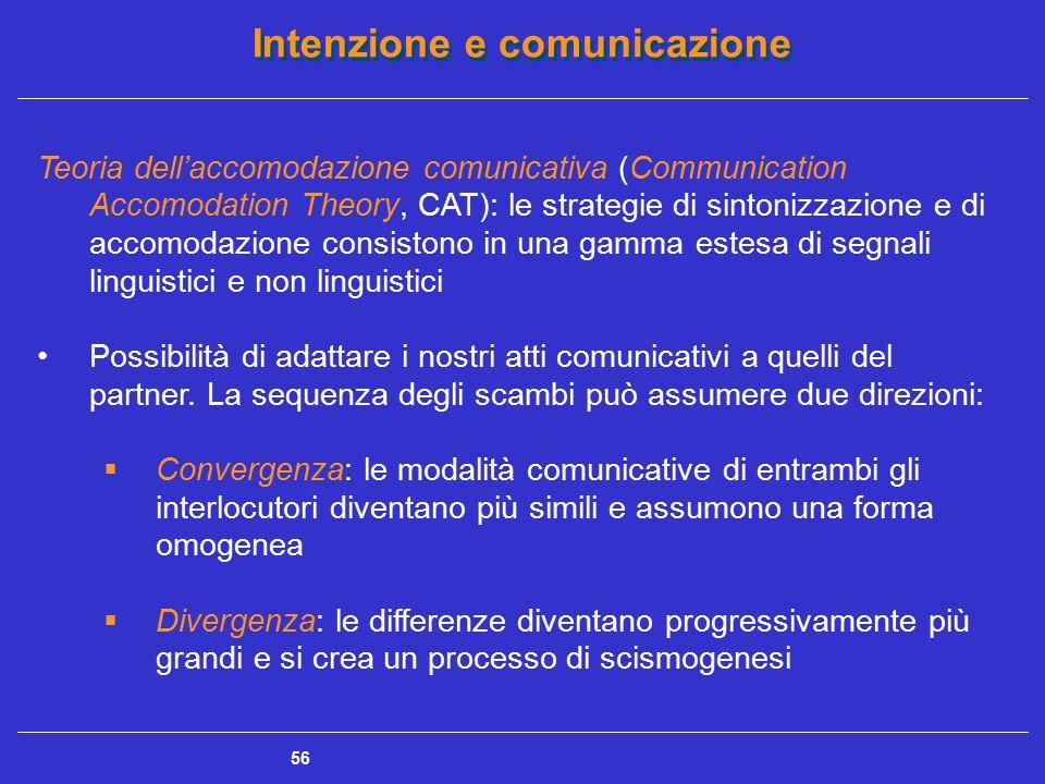 Intenzione e comunicazione 56 Teoria dell'accomodazione comunicativa (Communication Accomodation Theory, CAT): le strategie di sintonizzazione e di ac