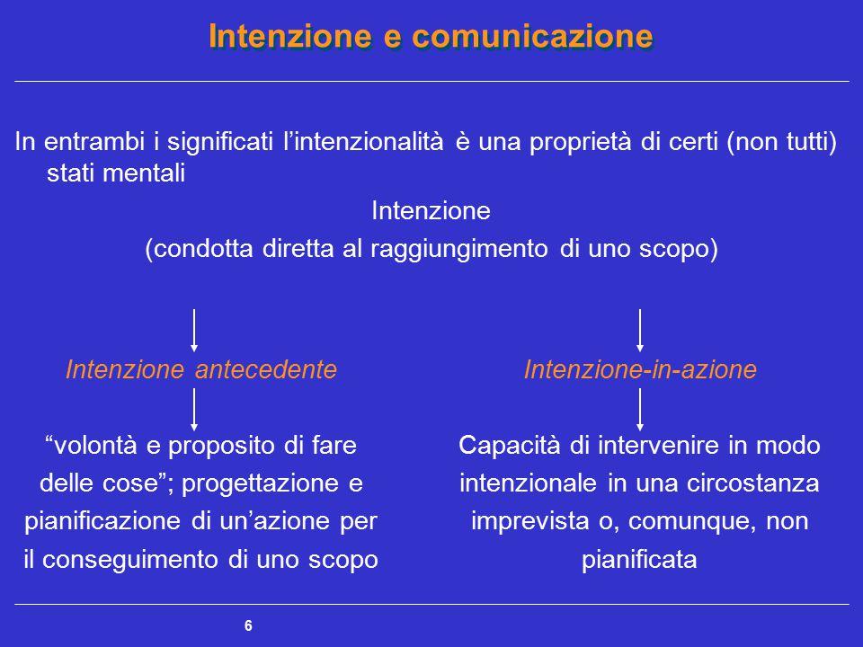 Intenzione e comunicazione 7 L'elaborazione di intenzioni richiede una condizione di coscienza coscienza Consapevolezza delle proprie percezioni nel qui e ora (consapevolezza percettiva) e dei propri pensieri (consapevolezza cognitiva) Funzione di riflessione sui propri processi mentali attraverso l'introspezione (consapevolezza metacognitiva e introspettiva) Condizione di vigilanza focalizzata contrapposta a uno stato inconscio (funzione di monitoraggio e di controllo)