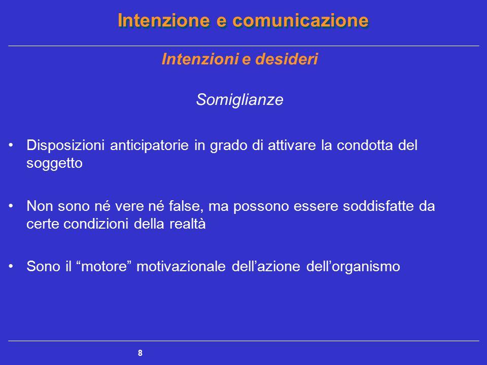 Intenzione e comunicazione 8 Somiglianze Disposizioni anticipatorie in grado di attivare la condotta del soggetto Non sono né vere né false, ma posson