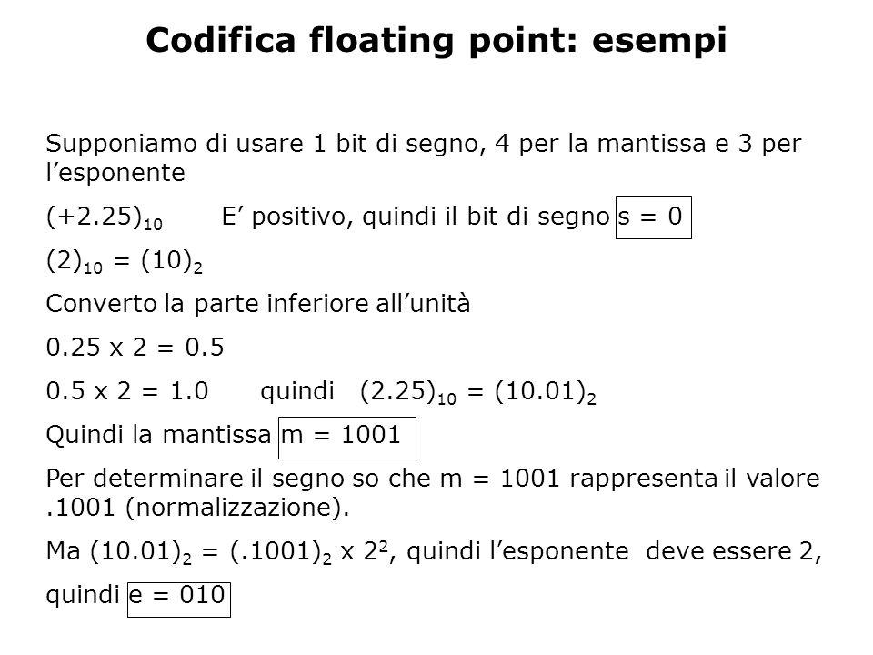 Codifica floating point: esempi Supponiamo di usare 1 bit di segno, 4 per la mantissa e 3 per l'esponente (+2.25) 10 E' positivo, quindi il bit di segno s = 0 (2) 10 = (10) 2 Converto la parte inferiore all'unità 0.25 x 2 = 0.5 0.5 x 2 = 1.0 quindi (2.25) 10 = (10.01) 2 Quindi la mantissa m = 1001 Per determinare il segno so che m = 1001 rappresenta il valore.1001 (normalizzazione).