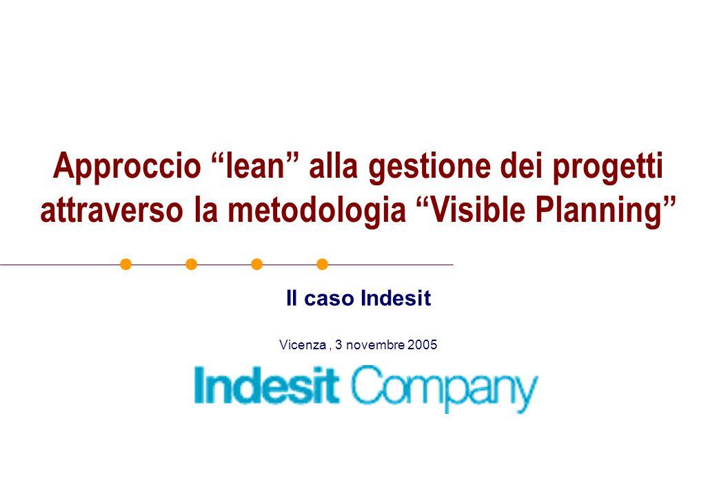 Vicenza, 3 novembre 2005 Il caso Indesit Approccio lean alla gestione dei progetti attraverso la metodologia Visible Planning