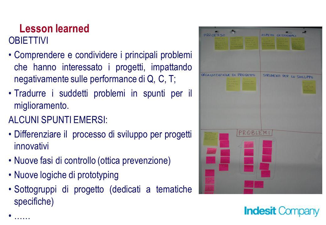 Lesson learned OBIETTIVI Comprendere e condividere i principali problemi che hanno interessato i progetti, impattando negativamente sulle performance di Q, C, T; Tradurre i suddetti problemi in spunti per il miglioramento.