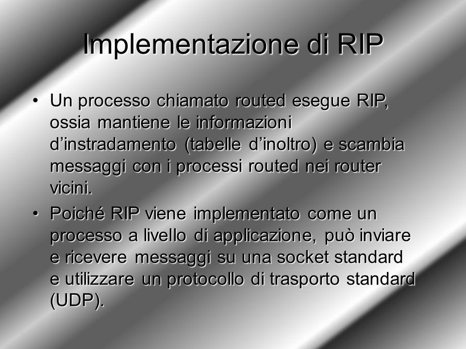 Implementazione di RIP Un processo chiamato routed esegue RIP, ossia mantiene le informazioni d'instradamento (tabelle d'inoltro) e scambia messaggi con i processi routed nei router vicini.Un processo chiamato routed esegue RIP, ossia mantiene le informazioni d'instradamento (tabelle d'inoltro) e scambia messaggi con i processi routed nei router vicini.