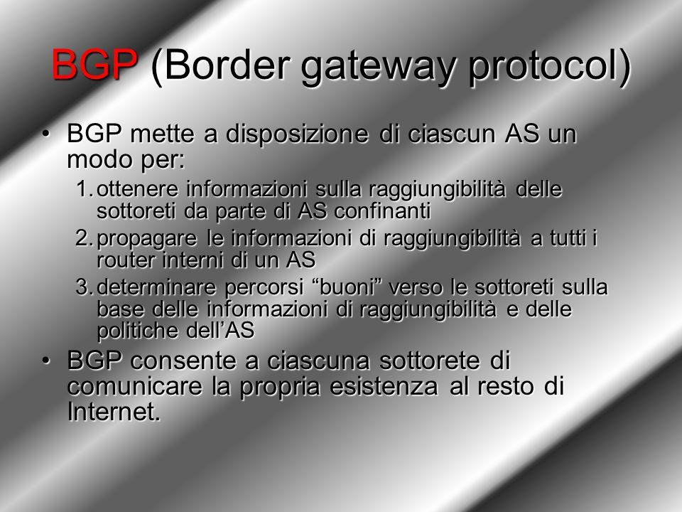 BGP (Border gateway protocol) BGP mette a disposizione di ciascun AS un modo per:BGP mette a disposizione di ciascun AS un modo per: 1.ottenere informazioni sulla raggiungibilità delle sottoreti da parte di AS confinanti 2.propagare le informazioni di raggiungibilità a tutti i router interni di un AS 3.determinare percorsi buoni verso le sottoreti sulla base delle informazioni di raggiungibilità e delle politiche dell'AS BGP consente a ciascuna sottorete di comunicare la propria esistenza al resto di Internet.BGP consente a ciascuna sottorete di comunicare la propria esistenza al resto di Internet.