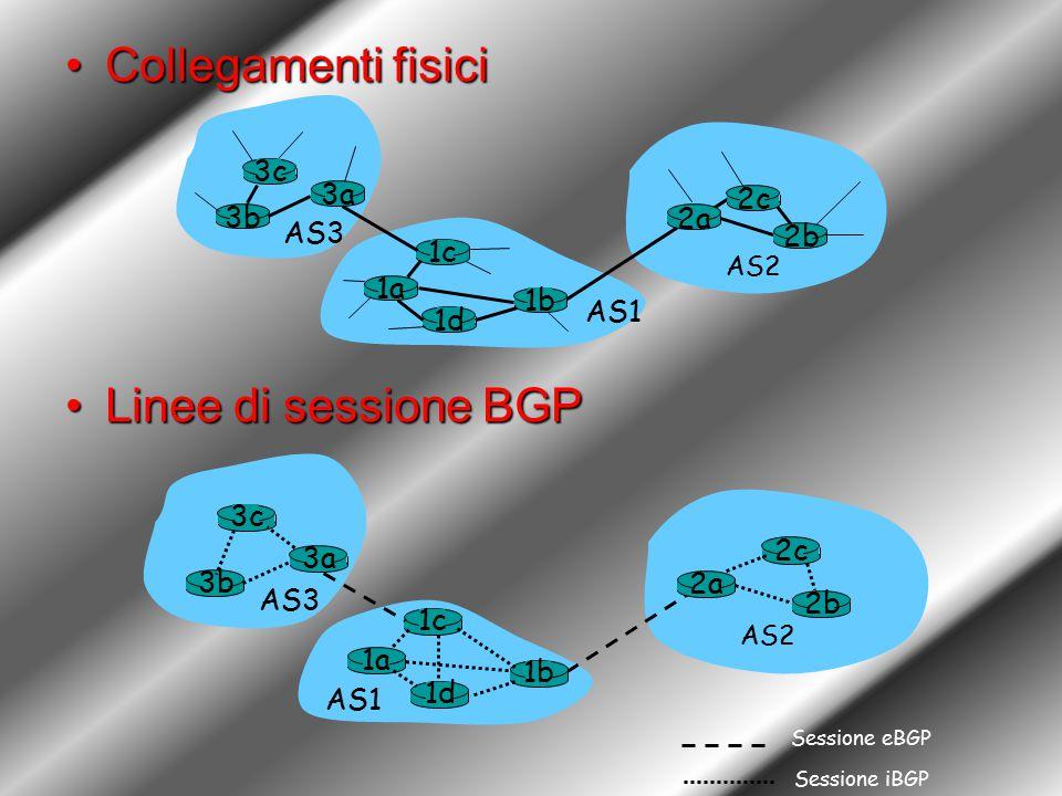 Collegamenti fisiciCollegamenti fisici Linee di sessione BGPLinee di sessione BGP 3b 1d 3a 1c 2a AS3 AS1 AS2 1a 2c 2b 1b 3c 3b 1d 3a 1c 2a AS3 AS1 AS2 1a 2c 2b 1b 3c Sessione eBGP Sessione iBGP
