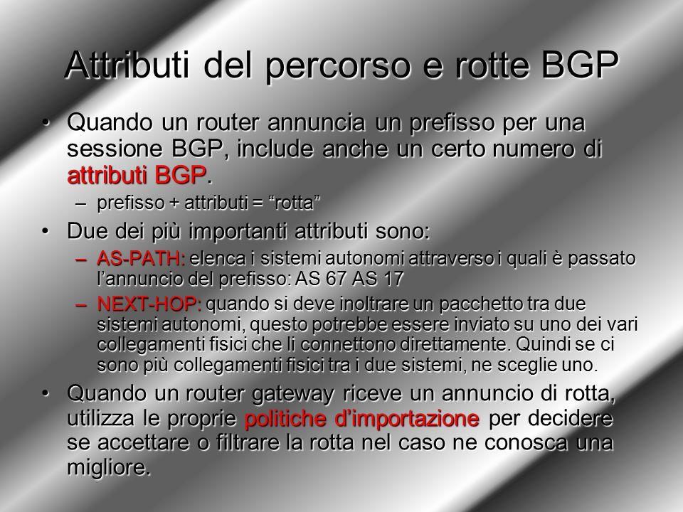 Attributi del percorso e rotte BGP Quando un router annuncia un prefisso per una sessione BGP, include anche un certo numero di attributi BGP.Quando un router annuncia un prefisso per una sessione BGP, include anche un certo numero di attributi BGP.