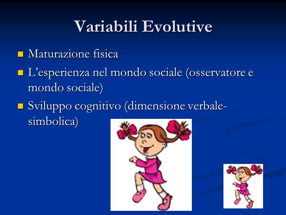 Variabili Evolutive Maturazione fisica Maturazione fisica L'esperienza nel mondo sociale (osservatore e mondo sociale) L'esperienza nel mondo sociale
