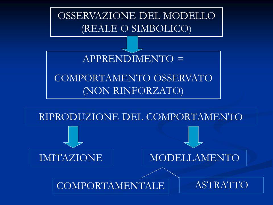 OSSERVAZIONE DEL MODELLO (REALE O SIMBOLICO) APPRENDIMENTO = COMPORTAMENTO OSSERVATO (NON RINFORZATO) IMITAZIONEMODELLAMENTO RIPRODUZIONE DEL COMPORTA