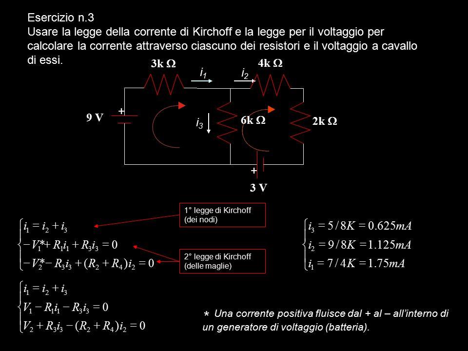 Esercizio n.2 Calculare la corrente nel seguente circuito. Qual'è la resistenza equivalente dei due resistori in parallelo? Calcolare il voltaggio a c