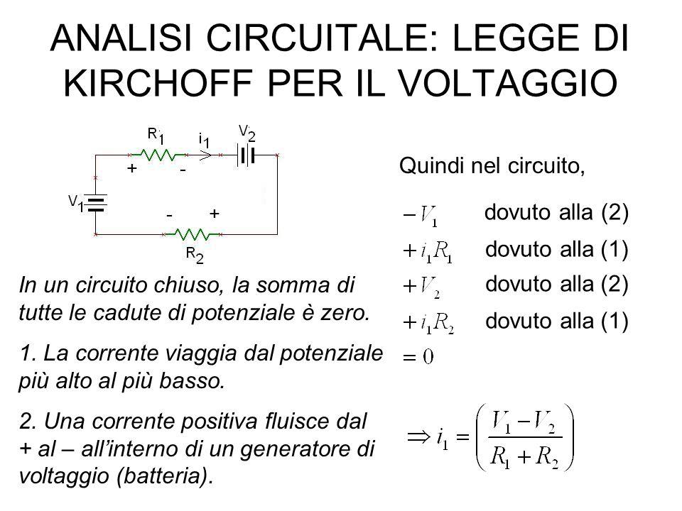 + – R1R1 R2R2 R3R3 R4R4 I1I1 I2I2 I3I3 I4I4 E1E1 In un nodo la somma di tutte le correnti che entrano ed escono da un nodo è zero: I 1 -I 3 -I 4 =0 I 2 -I 3 -I 4 =0 RISPOSTE: I 1 = I2 = 0,013 A I 3 = 0,0092 A I 4 = 0,0042 A Esercizio n.6 In un circuito chiuso la somma di tutte le cadute di potenziale è zero: E 1 -R 1 I 1 -R 3 I 3 -R 2 I 2 =0