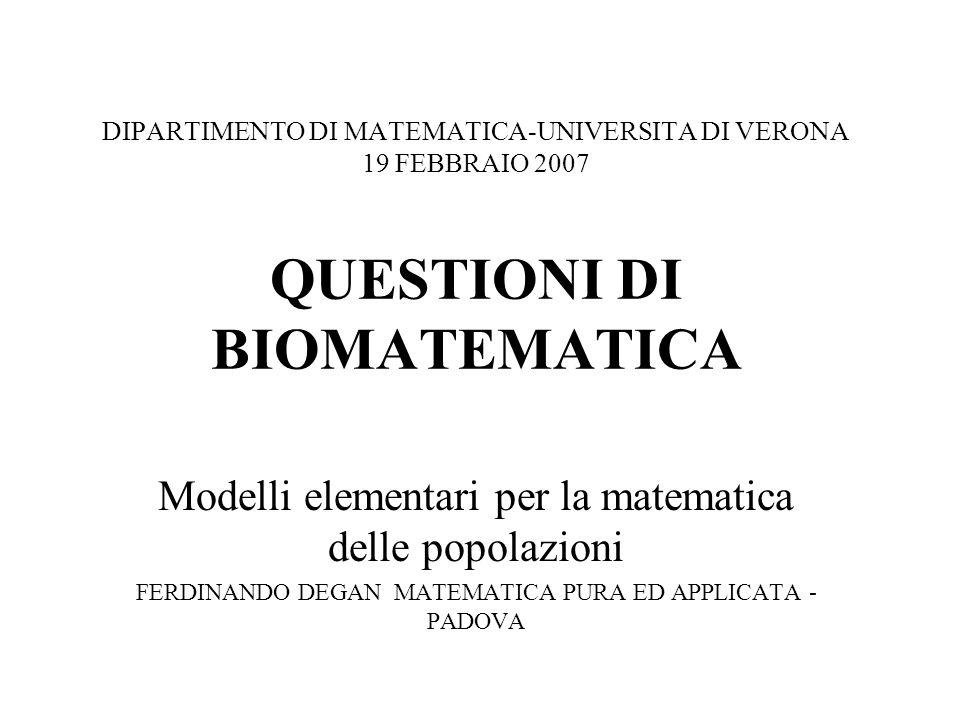 DIPARTIMENTO DI MATEMATICA-UNIVERSITA DI VERONA 19 FEBBRAIO 2007 QUESTIONI DI BIOMATEMATICA Modelli elementari per la matematica delle popolazioni FER