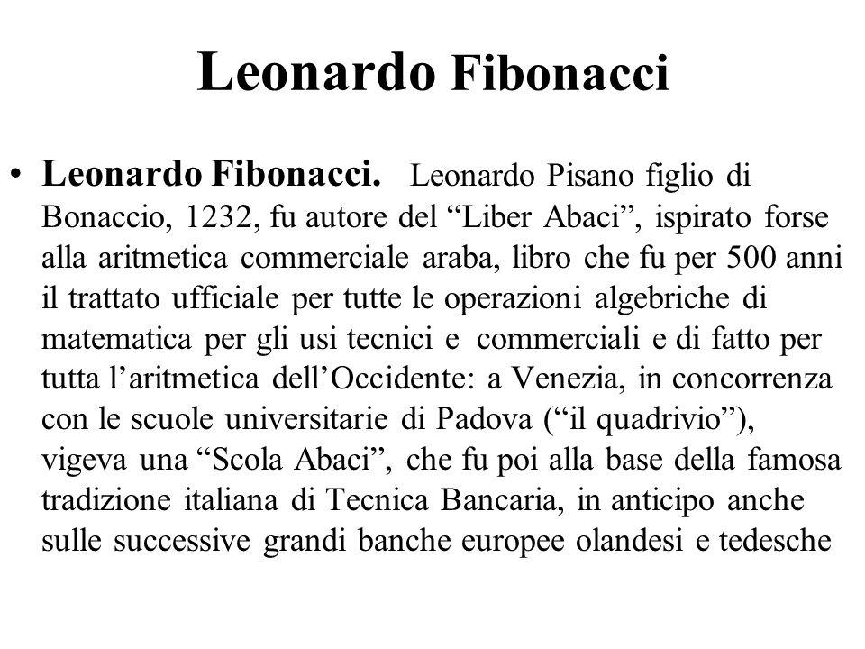 """Leonardo Fibonacci Leonardo Fibonacci. Leonardo Pisano figlio di Bonaccio, 1232, fu autore del """"Liber Abaci"""", ispirato forse alla aritmetica commercia"""