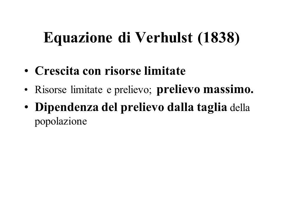 Equazione di Verhulst (1838) Crescita con risorse limitate Risorse limitate e prelievo; prelievo massimo. Dipendenza del prelievo dalla taglia della p