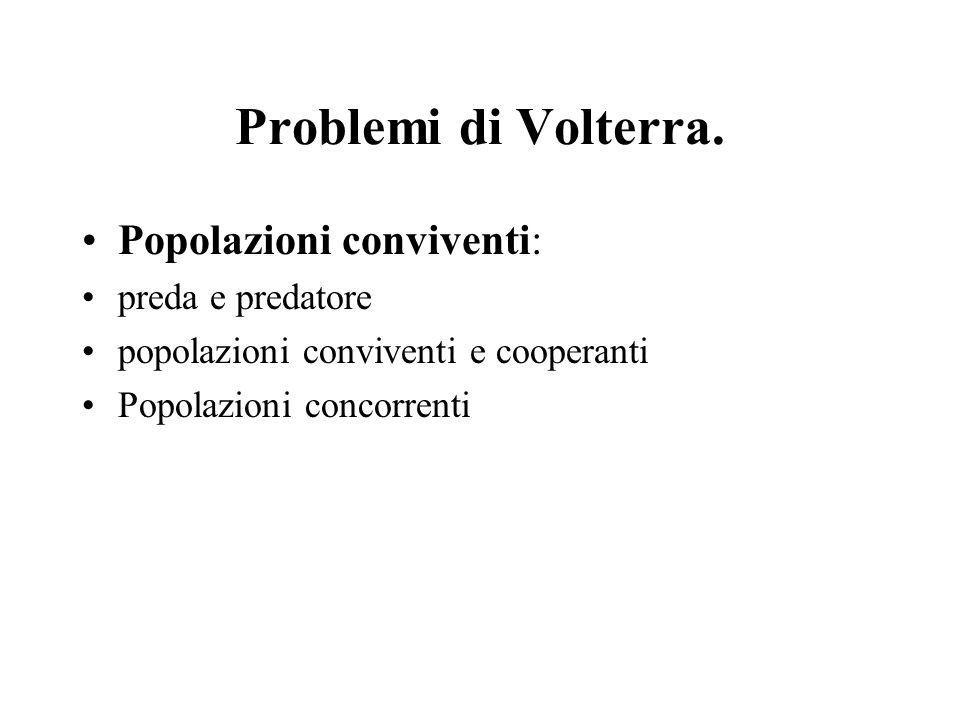 Problemi di Volterra. Popolazioni conviventi: preda e predatore popolazioni conviventi e cooperanti Popolazioni concorrenti