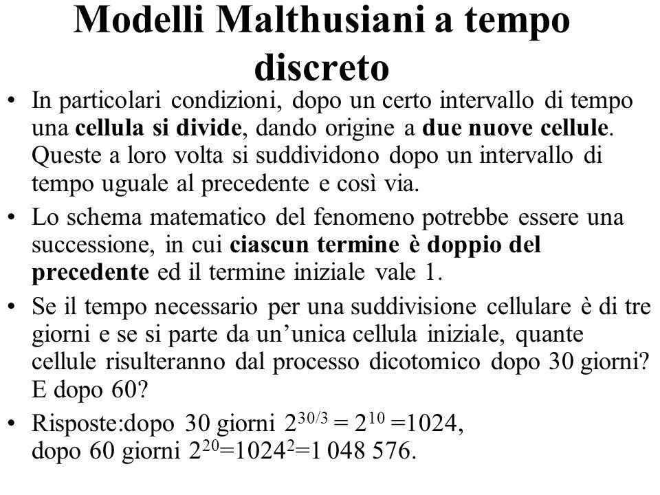Modelli Malthusiani a tempo discreto In particolari condizioni, dopo un certo intervallo di tempo una cellula si divide, dando origine a due nuove cel