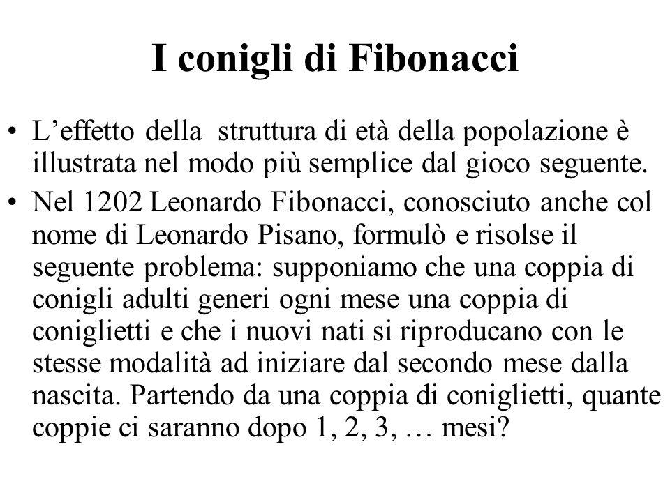 I conigli di Fibonacci L'effetto della struttura di età della popolazione è illustrata nel modo più semplice dal gioco seguente. Nel 1202 Leonardo Fib