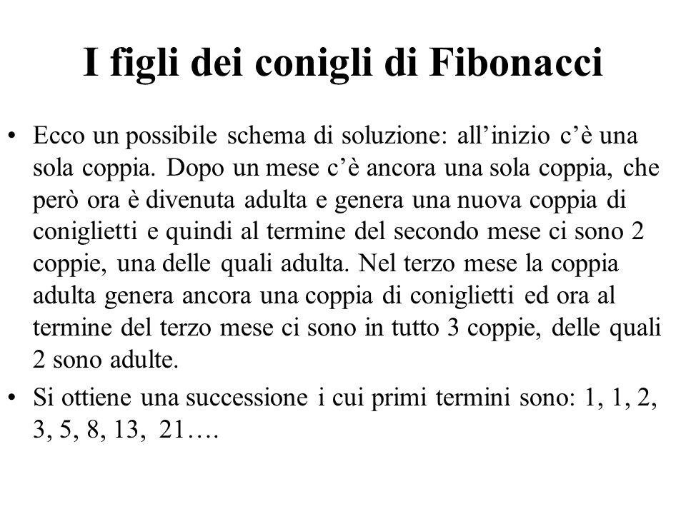 I figli dei conigli di Fibonacci Ecco un possibile schema di soluzione: all'inizio c'è una sola coppia. Dopo un mese c'è ancora una sola coppia, che p