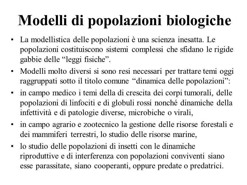 Modelli di popolazioni biologiche La modellistica delle popolazioni è una scienza inesatta. Le popolazioni costituiscono sistemi complessi che sfidano
