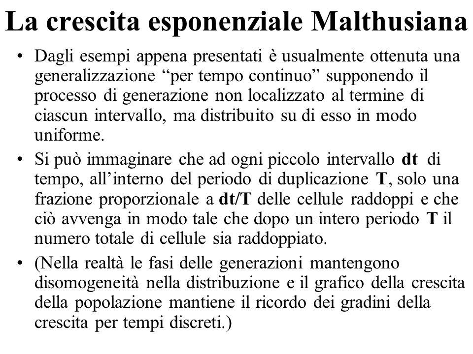 """La crescita esponenziale Malthusiana Dagli esempi appena presentati è usualmente ottenuta una generalizzazione """"per tempo continuo"""" supponendo il proc"""