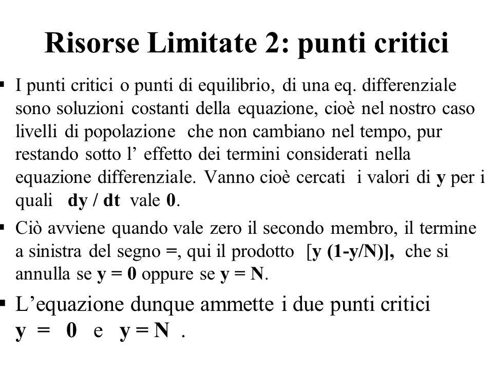 Risorse Limitate 2: punti critici  I punti critici o punti di equilibrio, di una eq. differenziale sono soluzioni costanti della equazione, cioè nel