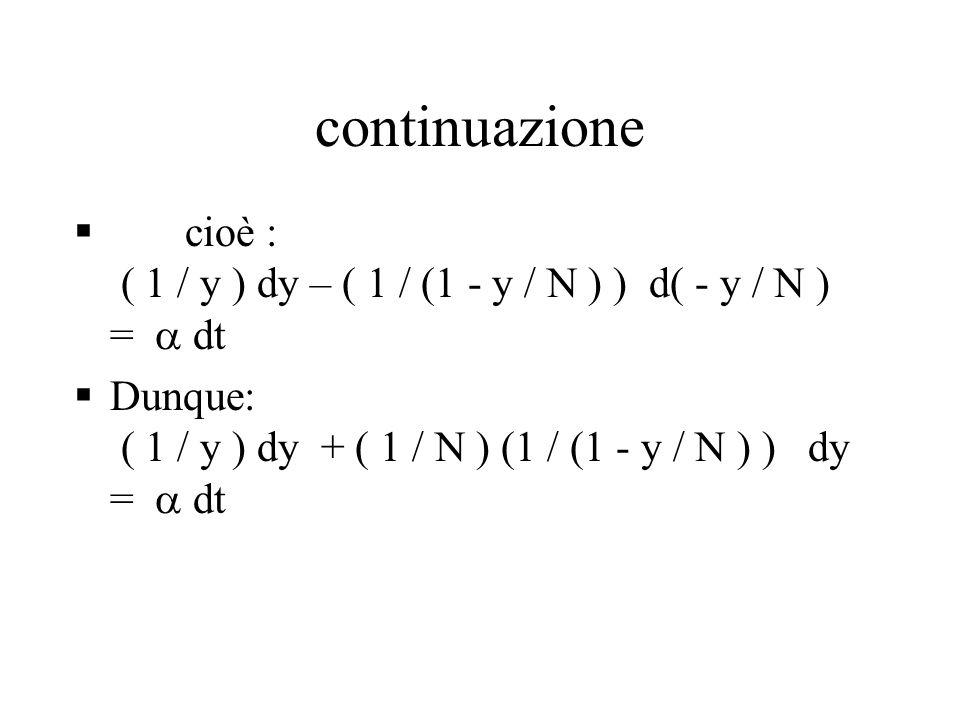 continuazione  cioè : ( 1 / y ) dy – ( 1 / (1 - y / N ) ) d( - y / N ) =  dt  Dunque: ( 1 / y ) dy + ( 1 / N ) (1 / (1 - y / N ) ) dy =  dt