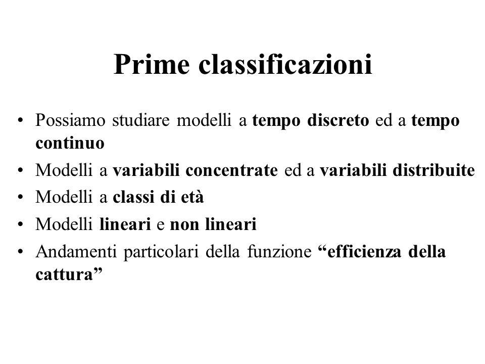 Prime classificazioni Possiamo studiare modelli a tempo discreto ed a tempo continuo Modelli a variabili concentrate ed a variabili distribuite Modell