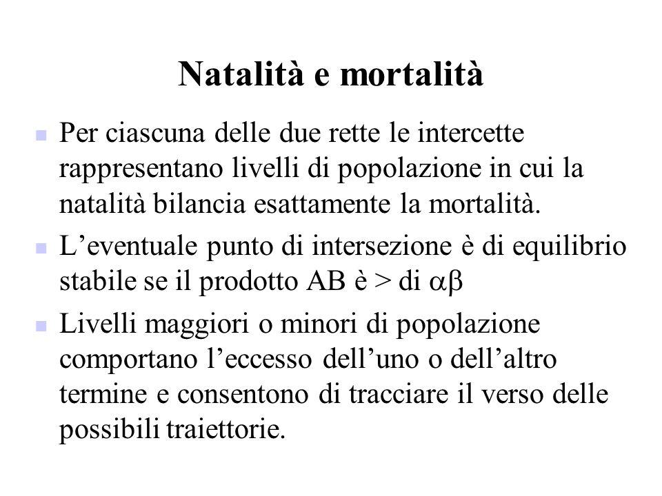 Natalità e mortalità Per ciascuna delle due rette le intercette rappresentano livelli di popolazione in cui la natalità bilancia esattamente la mortal