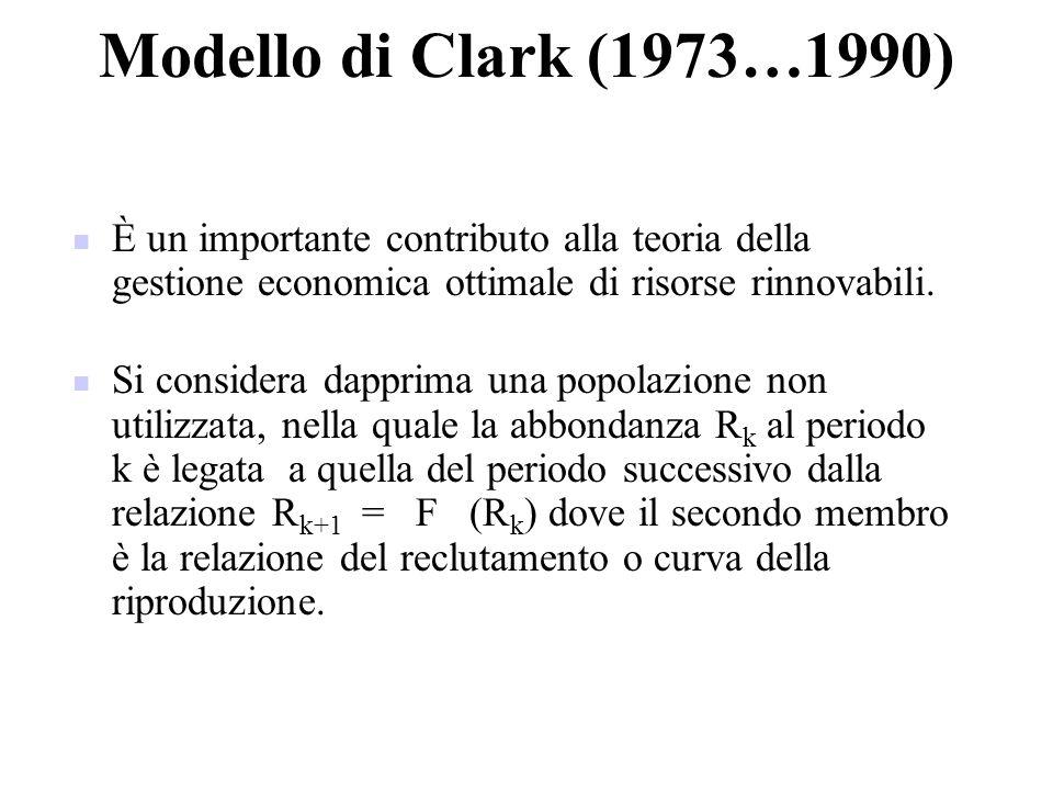 Modello di Clark (1973…1990) È un importante contributo alla teoria della gestione economica ottimale di risorse rinnovabili. Si considera dapprima un