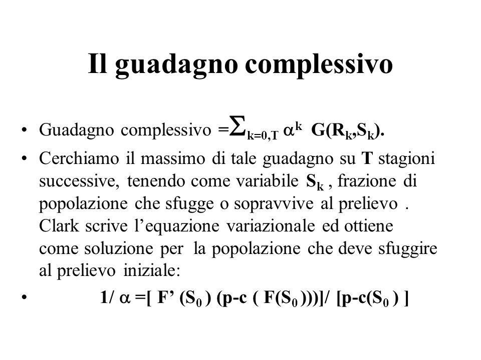 Il guadagno complessivo Guadagno complessivo =  k=0,T  k G(R k,S k ). Cerchiamo il massimo di tale guadagno su T stagioni successive, tenendo come v