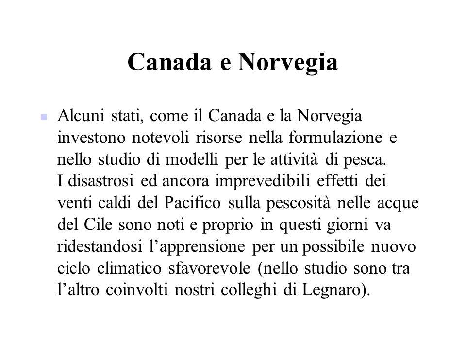 Canada e Norvegia Alcuni stati, come il Canada e la Norvegia investono notevoli risorse nella formulazione e nello studio di modelli per le attività d