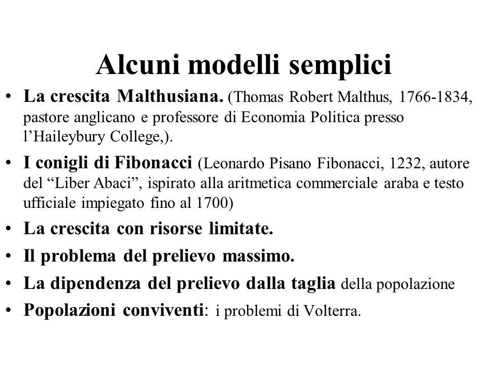 Alcuni modelli semplici La crescita Malthusiana. (Thomas Robert Malthus, 1766-1834, pastore anglicano e professore di Economia Politica presso l'Haile