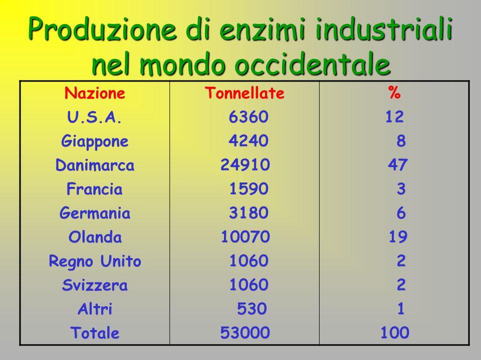 Produzione di enzimi industriali nel mondo occidentale NazioneTonnellate% U.S.A. 636012 Giappone 4240 8 Danimarca24910 47 Francia 1590 3 Germania 3180