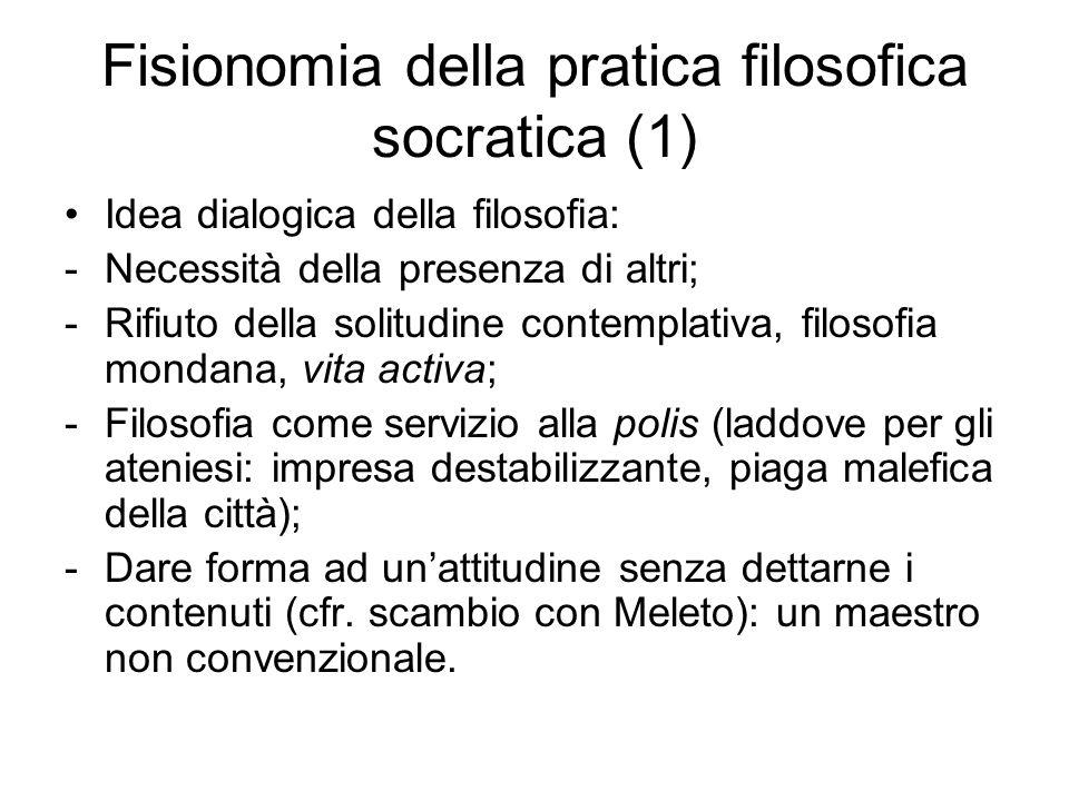 Fisionomia della pratica filosofica socratica (1) Idea dialogica della filosofia: -Necessità della presenza di altri; -Rifiuto della solitudine contem