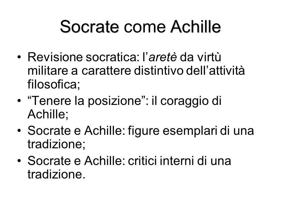 """SocrateAchille Socrate come Achille Revisione socratica: l'aretè da virtù militare a carattere distintivo dell'attività filosofica; """"Tenere la posizio"""