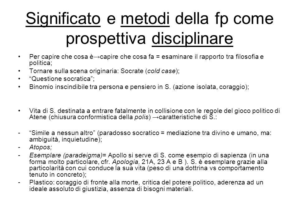 Significato e metodi della fp come prospettiva disciplinare Per capire che cosa è→capire che cosa fa = esaminare il rapporto tra filosofia e politica;